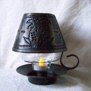 Punched Tin Candle Lamp w/ LED Tealight Candle
